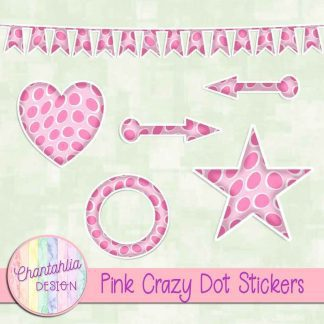 Free sticker design elements in a pink crazy dot style