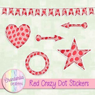 Free sticker design elements in a red crazy dot style