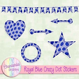 Free sticker design elements in a royal blue crazy dot style