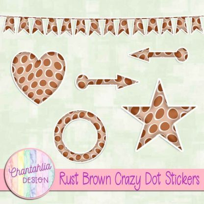 Free sticker design elements in a rust brown crazy dot style