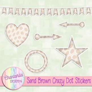 Free sticker design elements in a sand brown crazy dot style