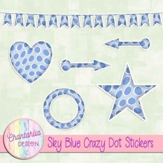 Free sticker design elements in a sky blue crazy dot style