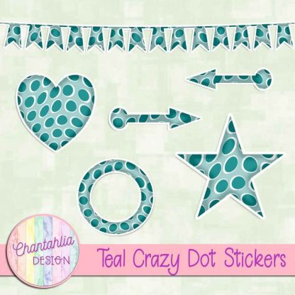 Free sticker design elements in a teal crazy dot style
