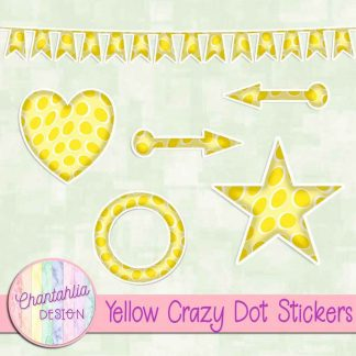Free sticker design elements in a yellow crazy dot style