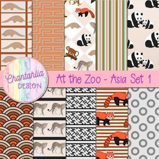 Free digital papers in an At the Zoo - Asia theme.