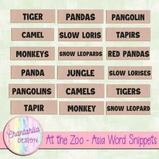 Free word snippets in an At the Zoo - Asia theme