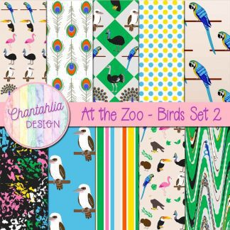 Free digital papers in an At the Zoo - Birds theme