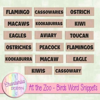 Free word snippets in an At the Zoo - Birds theme