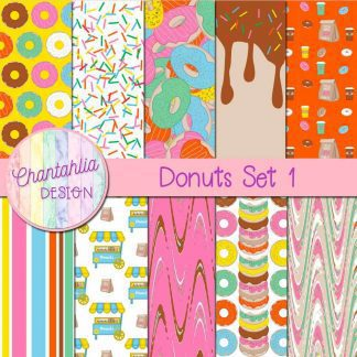 Free digital papers in a Donuts theme.