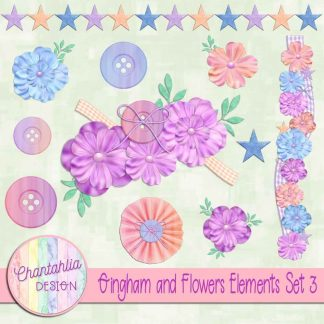 Free design elements in a Gingham and Flowers theme.
