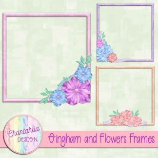 Free frames in a Gingham and Flowers theme