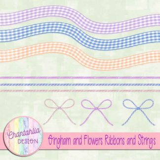 Free ribbons and strings in a Gingham and Flowers theme.