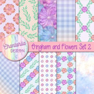 Free digital papers in a Gingham and Flowers theme