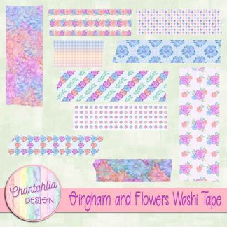 Free washi tape in a Gingham and Flowers theme