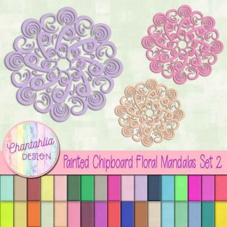 free floral mandala design elements in a painted chipboard style