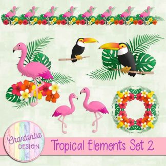 Free design elements in a Tropical theme.