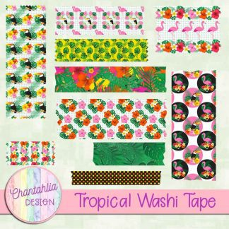 Free washi tape in a Tropical theme