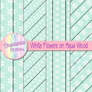 Free white flowers on aqua wood digital papers