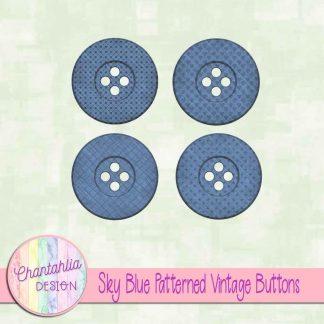 Free sky blue patterned vintage buttons