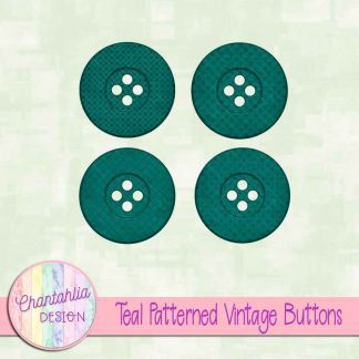 Free teal patterned vintage buttons