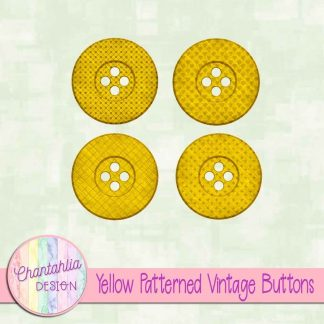 Free yellow patterned vintage buttons