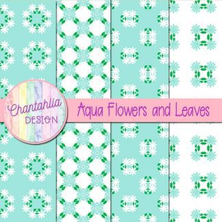 Free digital papers featuring aqua flowers and leaves