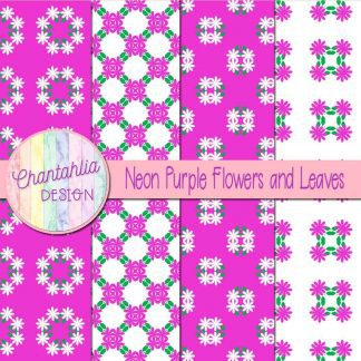 Free digital papers featuring neon purple flowers and leaves