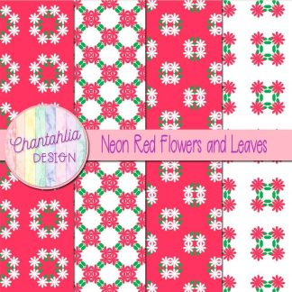 Free digital papers featuring neon red flowers and leaves