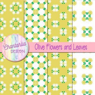 Free digital papers featuring olive flowers and leaves