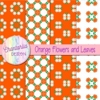 Free digital papers featuring orange flowers and leaves