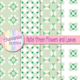 Free digital papers featuring pastel green flowers and leaves