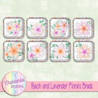 Free brads in a Peach and Lavender Florals theme