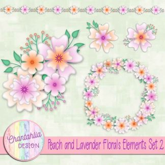 Free design elements in a Peach and Lavender Florals theme