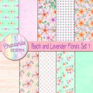 Free digital papers in a Peach and Lavender Florals theme
