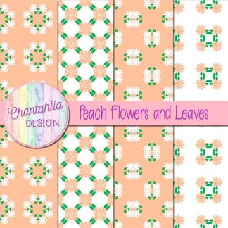 Free digital papers featuring peach flowers and leaves