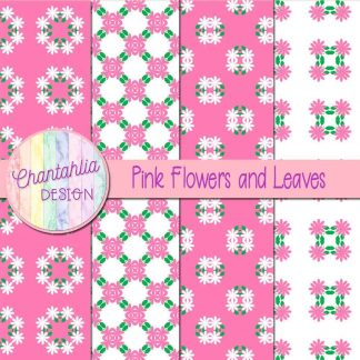 Free digital papers featuring pink flowers and leaves