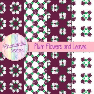 Free digital papers featuring plum flowers and leaves