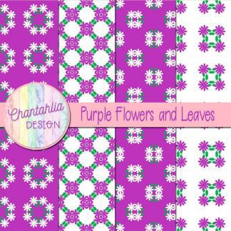Free digital papers featuring purple flowers and leaves
