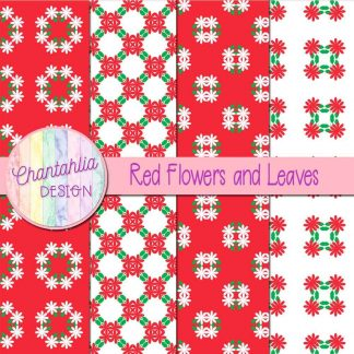 Free digital papers featuring red flowers and leaves