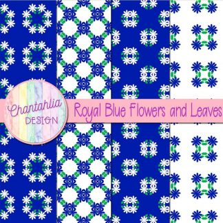 Free digital papers featuring royal blue flowers and leaves