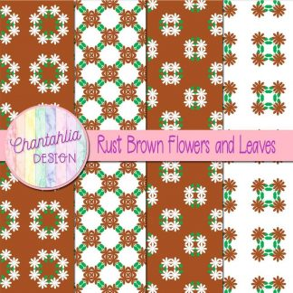 Free digital papers featuring rust brown flowers and leaves