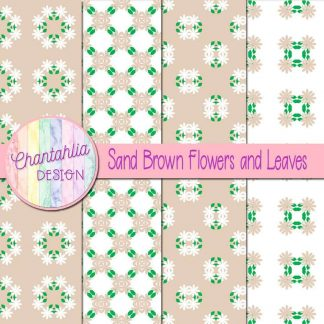 Free digital papers featuring sand brown flowers and leaves
