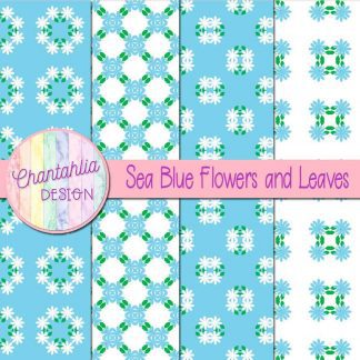 Free digital papers featuring sea blue flowers and leaves