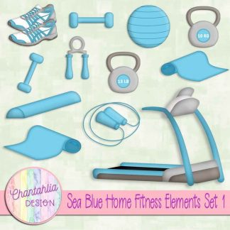 Free sea blue design elements in a Home Fitness theme