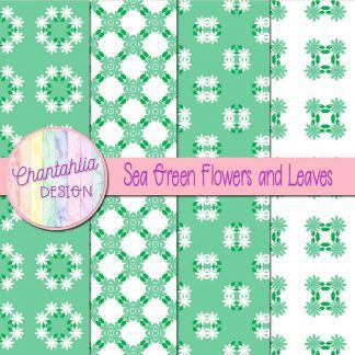 Free digital papers featuring sea green flowers and leaves