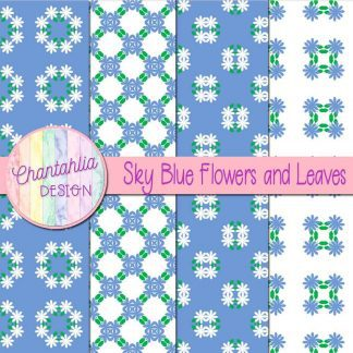 Free digital papers featuring sky blue flowers and leaves