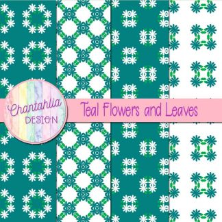 Free digital papers featuring teal flowers and leaves