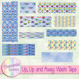 Free washi tape in a Up, Up and Away Air Transport theme