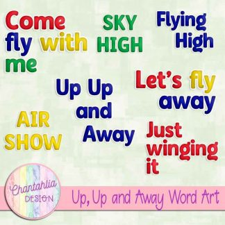 Free word art in a Up, Up and Away Air Transport theme.