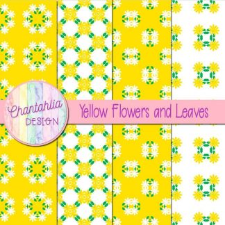 Free digital papers featuring yellow flowers and leaves